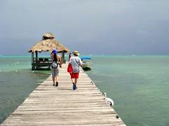 Boat terminal (CameliaTWU) Tags: boat belize horizon tourists deck hut ambergriscaye sanpedro coralreef caribbeansea