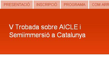 Imatge del web de la V Trobada sobre AICLE i Semiimmersió a Catalunya