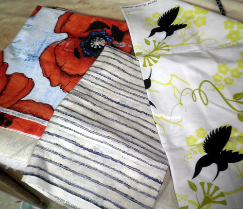 Project QUILTING - Large Scale Print Challenge:  My three main fabrics for this piece