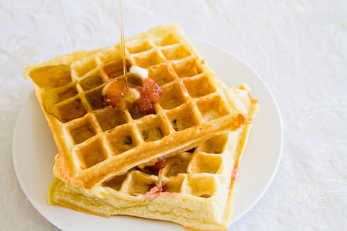 Rhubarb and Yogurt Belgian Waffles - 5