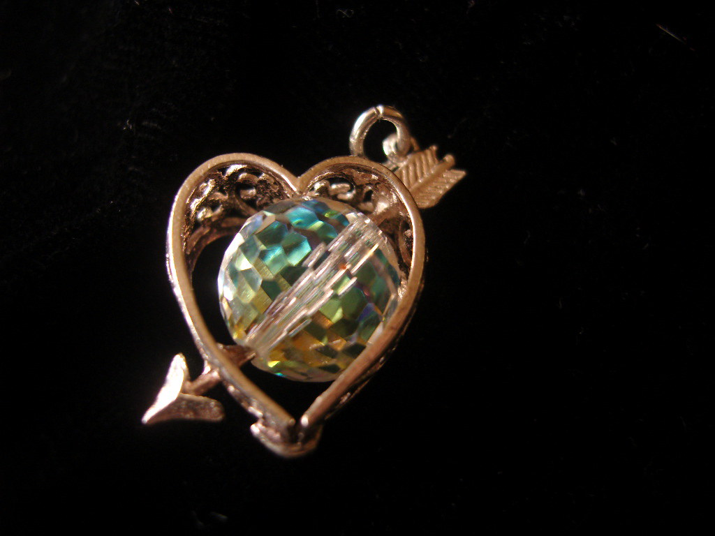 Silver Charm Crystal Heart and arrowe