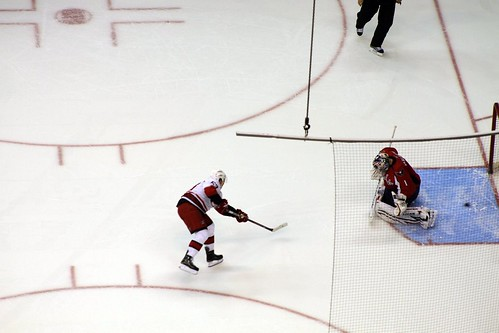 Jeff Skinner scores on Semyon Varlamov in the shootout.