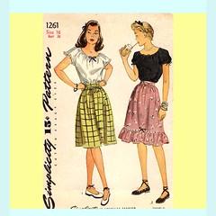 Simplicity1261 peasant skirt, top (retro-thrift) Tags: 1940s 40s craftsupplies sewingpatterns peasantskirt vintagesewing sewingsupplies peasanttop vintagepattern ww2era