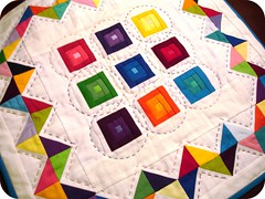 DQS10 Sent - A Cacophony of Color (A Blond Quilts) Tags: hand embroidery coton quilted stitched kona binding hst dqs10