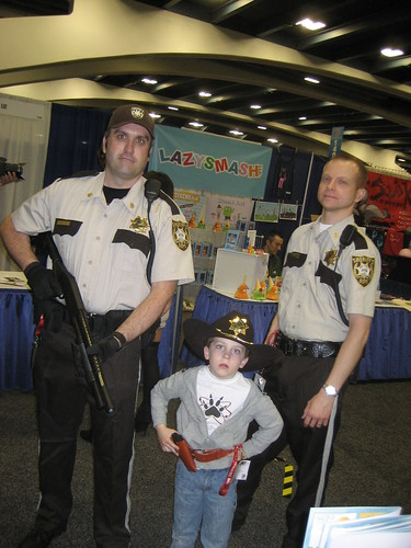 Deputy Rick Grimes, son Carl, and tragic friend Shane.