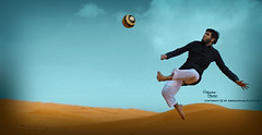 The Flying Man.:*-_!_-*:.  (Oo Abo Othaim oO   Oo) Tags: man ball football goal play desert