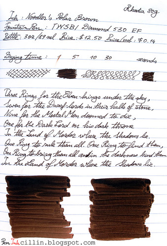 Noodler's Polar Brown ink review on Rhodia 80g