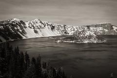 Crater Lake-02-12-11_bw (seanhaselden) Tags: blackandwhite bw snow mountains craterlake 450d rebelxsi canonxsi