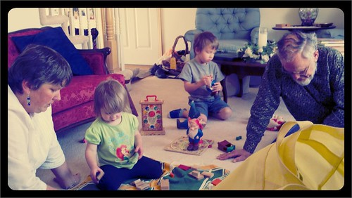 Great Aunt Allison and Great Grandad playing with the kids!