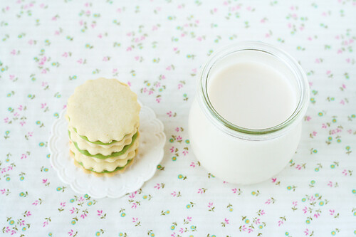 Green Tea Chocolate Cookies and Almond Milk