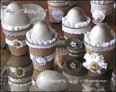Having fun with peat pots 2 (Boxwoodcottage) Tags: white silver easter ruffles dresden antique foil decoration german eggs april tray ostern embellished borders coffeefilter happyeaster 2011 papermach frhliche ostereier peatpots boxwoodcottage