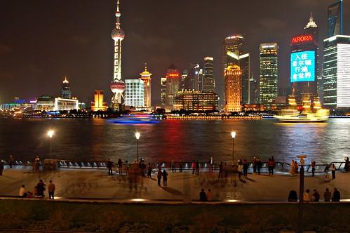 hinter dem Bund mit Oriental Pearl Tower, Shanghai World Financial Center und Jin Mao Tower