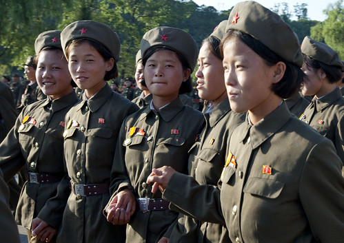 north korean army girls. Smiling army girls - NOrth