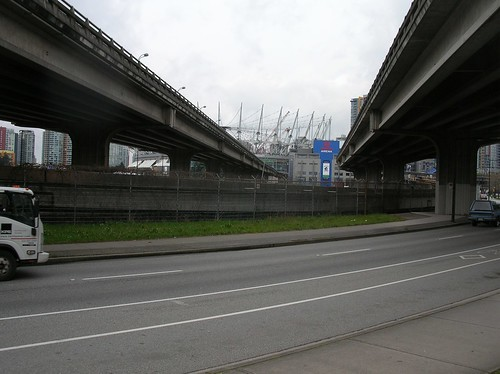 Ground level SkyTrain track