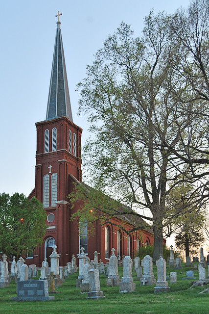 Saint Vincent de Paul Roman Catholic Church, in Dutzow, Missouri, USA - exterior with cemetery