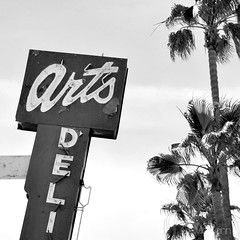Art's Deli (CPMcGann) Tags: california bw sunlight sunshine sign vintage square three interesting neon arts retro palmtrees nostalgic grayscale colorless venturablvd studiocity greytones achromatic artsdeli since1957 artsdelicatessen