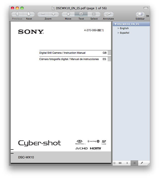 Sony WX10 Manual