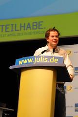Lasse Becker, der Bundesvorsitzende der Jungen Liberalen bei seiner Wiederwahl in Gütersloh.