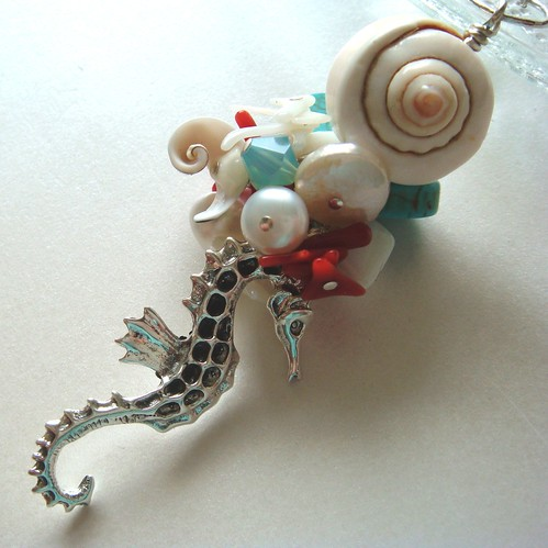 Seahorse on the coral - Sterling Silver pendant