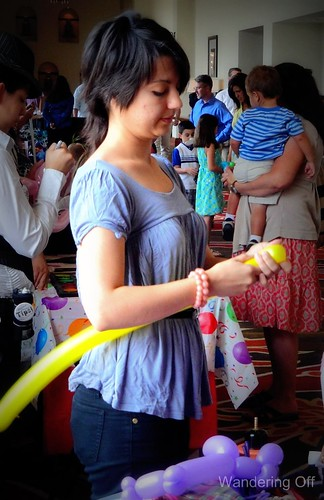 Balloon animal in the making at Westin la Cantera Easter brunch.