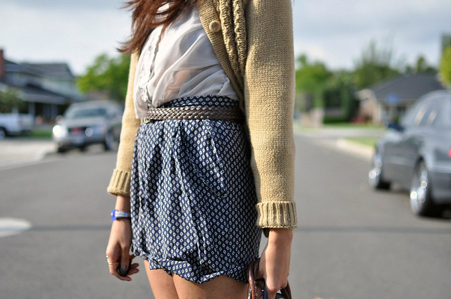 Acne blouse, silk shorts