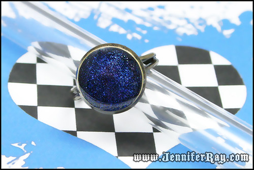 Deep Blue Sea - Blue Resin Glitter Antique Brass Ring by JenniferRay.com