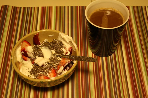 Chobani vanilla greek yogurt, strawberries, chia seeds, coffee