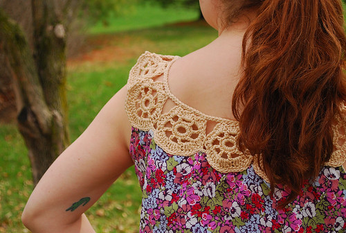 back detail of crochet-yolk top