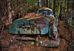 Colour abandoned in the woods... (KvonK) Tags: abandoned car spring rust tripod wideangle wreck hdr bluegreen mcleans kvonk nikond300s tokina11mmto16mm28 TGAM:photodesk=abandoned2012