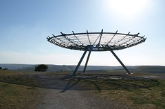 Halo Panopticon (Tony Worrall Foto) Tags: uk blue england sky sculpture sun cold eye cool scenery shine northwest top steel hill scenic halo sunny lancashire made rings to publicart sunlit overlooking quirky artworks panopticon designed rossendale the lancs johnkennedy allseeingeye haslingden panopticons toposlate landlab northart lancashirepanopticon halopanopticon occultrossendale theirwellsculpturetrail panopticonlancashire articonicwelcome