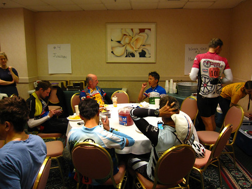 Rider's dinner at the finish