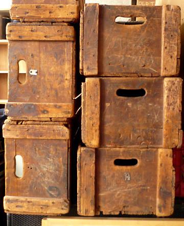 Vintage Industrial Factory Farm Boxes Crates