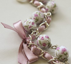 white beads and lilac ribbon bracelet (Maffabijou) Tags: summer orchid flower floral girl rose spring jewelry jewellery lilac fabric cotton bracelet satin beaded