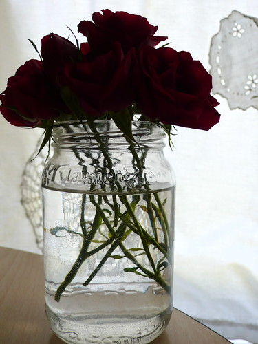 Little roses in a pickle jar