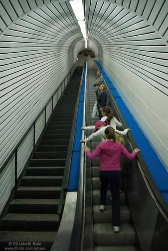 Climbing the escalator into the fortress of Civitella del Tronto
