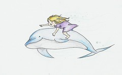 Dolphin Swimming Sketch Swimming Happy Dolphin