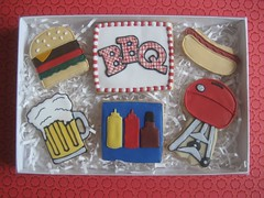 Summer BBQ Gift Set (Songbird Sweets) Tags: hotdog bbq grill hamburger sugarcookies beermug