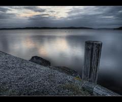 More Water. (Mattias Fahlgren) Tags: sunset lake reflection pier nikon cloudy sweden pole sverige 1855 hdr gravel kil vrmland fryken d5000