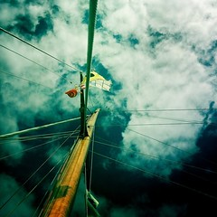 (davekeane) Tags: instagramapp square squareformat iphoneography uploaded:by=instagram normal mast sail flak sky davekeane shrouds halyards wood bounty mastermariners2011 regatta boat sf sfbay sanfrancisco racing kite water cloud