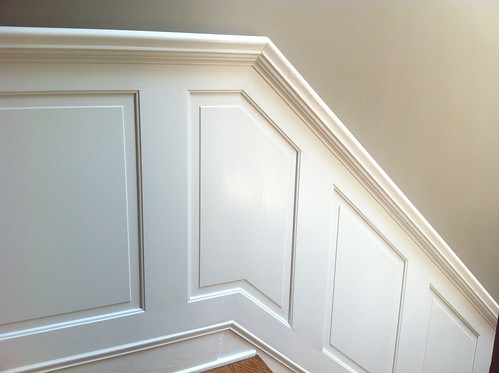 On tight staircase wainscoting and handrail project old town home