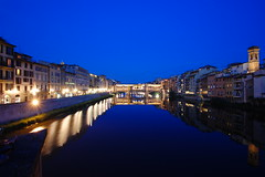 Ponte Vecchio at Blue Hour (Seth Oliver Photographic Art) Tags: italy lightpainting reflections iso200 florence travels nikon europe nightimages nightlights cityscapes rivers firenze nightshots lighttrails vacations pinoy florenceitaly nightscapes lightstreaks riverarno longexposures travelphotography nightexposures 10secondexposure pontevechhio d40 wetreflections sooc nighttrails florenceatnight aperturef100 europeantravels manualmodeexposure setholiver1 nocturneimages 1024mmtamronuwalens ballheadtripodmountedshot timedelaytriggeredshot riverarnoatnight bluehourinflorence pontevechhioatnight riverarnoreflections
