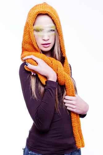 Gorro bufanda de lana hilada a mano