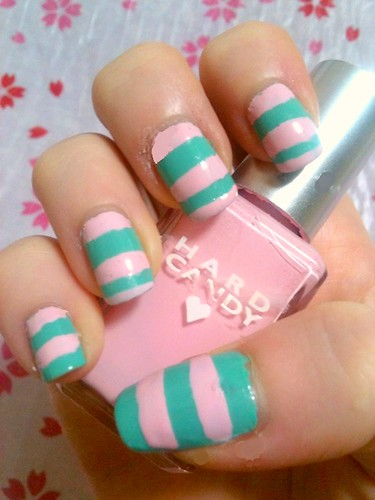 Mint Green and Bubblegum Striped Manicure by KitaRei
