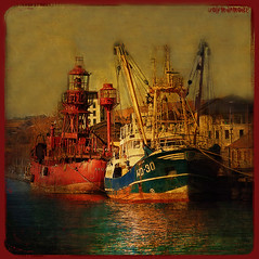 Red Light (wolfmanmoike) Tags: sea texture boats harbour wicklow photoart trawler lightship arklow