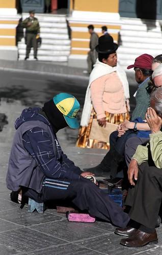 One of the masked shoeshine boys of La Paz