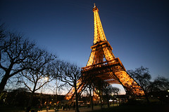 Eiffel Tower and trees.