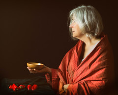 45/365 - Her Father's Bowl (kate.millerwilson) Tags: woman red peppers painterly chiaroscuro vermeer age portrait people homestudio offcameraflash alienbees