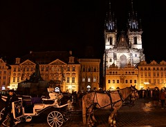 Prague old town square at night (somabiswas) Tags: czechrepublic prague oldtownsquare night lights horse carriages towers monuments saariysqualitypictures