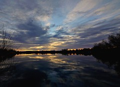 Liquid Dawn (Ph0tomas) Tags: trees sunset sky lake newmexico water clouds sunrise reflections river landscape lumix pond g g1 f4 714 vario mygearandme ph0tomas