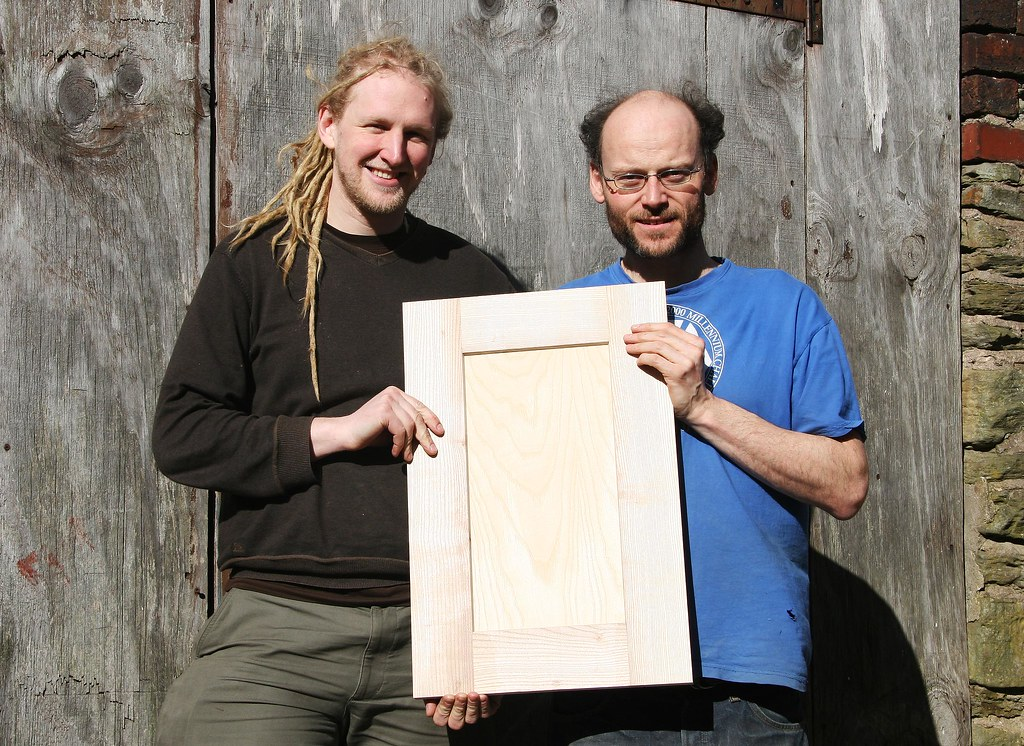 Myself and Finbar with the new 'Local Door' - A locally crafted door made from locally grown Ash. It will be available in a range of painted and natural finishes.